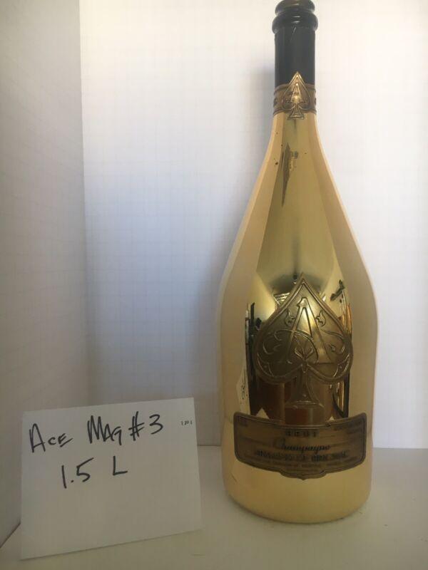 Gold Bottle Ace of Spades Brut #3 Armand De Brignac Empty Bottle 1.5 L Magnum