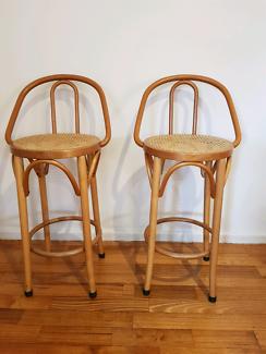 Retro cane bar stools x 2
