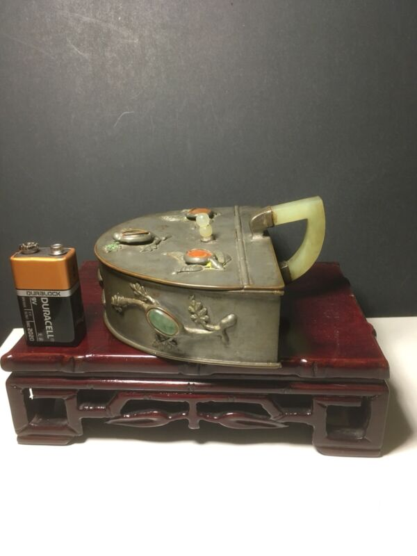 Rare Chinese Export Pewter Opium Tray With Jade Handle And Precious Stones