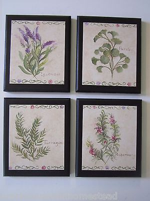 Herbs country kitchen Wall Decor Plaques lavender rosemary parsley 4 pictures