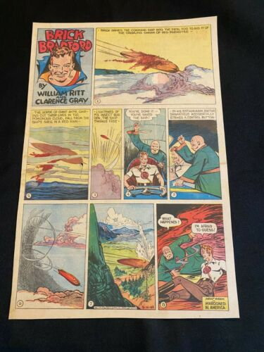 #20 BRICK BRADFORD by Clarence Gray Lot of 6 Sunday Tabloid Full Page Strip 1945