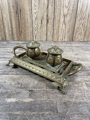 Large Brass Aesthetic Movement Twin Handled Desktop Inkwell & Tray.