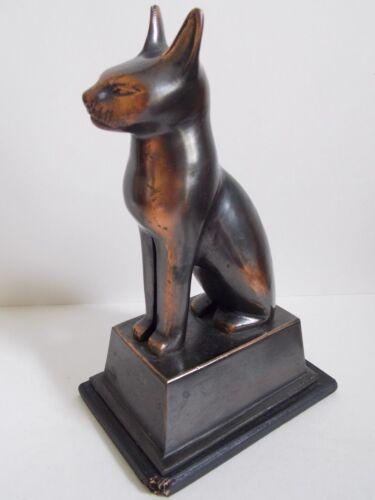 "19th - Antique / Vintage Egypt Egyptian Bronze Cat Figurine Statue 9"""