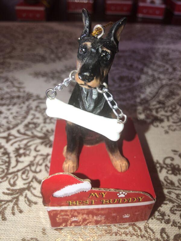 Doberman Christmas Ornament, Personalize, New