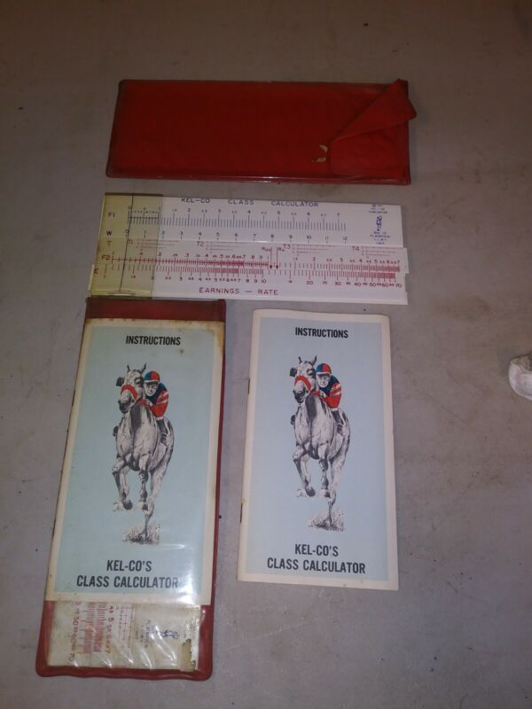 Vintage Kel-co Racehorse Slide Calculator 1971 Instruction Booklet horseracing