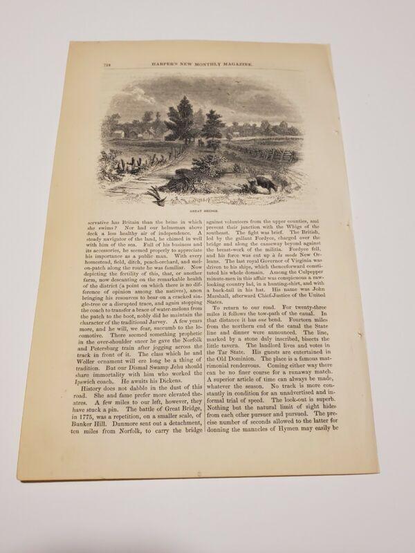 View of Great Bridge Virginia c. 1860 Engraving