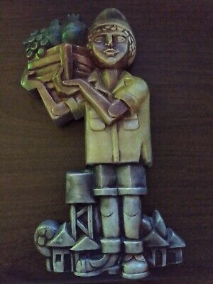 """Vintage Ceramic Hand Painted, Fruit Vendor, Made In Israel, 8.75""""x4.5"""", Used."""