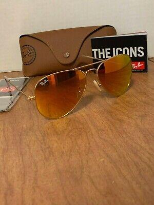Ray-Ban Sunglasses Aviator Men Women Gold Frame Orange Flash RB3025 112/69 (Cheap Original Ray Ban Sunglasses)