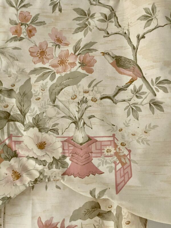 SET antique French faded PEACH FLORAL CHINOISERIE cotton CURTAIN & VALANCE c1900