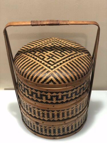 Vintage Rosenthal Netter Chinese 3 Tier Wedding Basket Bamboo & Woven Rattan