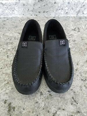 DC Villain Shoe Black Leather Mens Size 8.5 Skateboarding Shoes - Mens Dc Villain