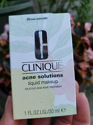 Clinique Acne Solutions Liquid Makeup #03 Fresh Neutral 1oz/30ml NIB 2020