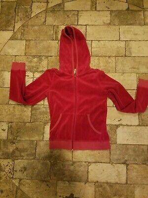 Juicy Couture Girls sz 10 Hoodie Jacket Pink Velour Zip Up Track Sparkle L/S