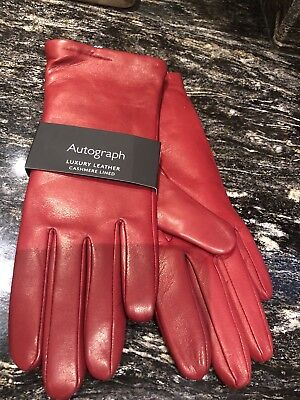 M&S Ladies Girls Xmas Gift RED Autograph CASHMERE Gloves BNWT MEDIUM Xmas Gift - Girls Red Gloves