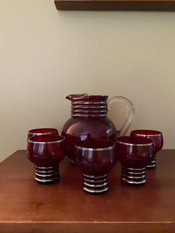 Vintage Ruby Red Glass and Silver Ring Pitcher and Glasses Set