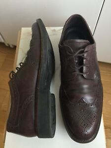 MENS ECCO SIZE 10 BROGUE DRESS SHOES BROWN LEATHER
