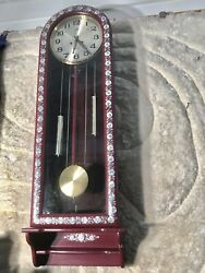 31 DAY LARGE 61 Inch KEYWOUND STRIKES CLOCK  W WOOD CASE & 2 DECORATE WEIGHS