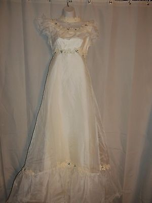 Vintage 60's Style Wedding Dress by Bridal Originals Size 6 With Lace HandBag