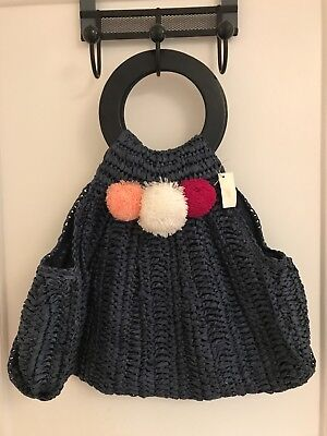 Rio Straw Handbag Wooden Circle Handles And Pom Poms Navy Red White Pink  (Red And Blue Pom Poms)