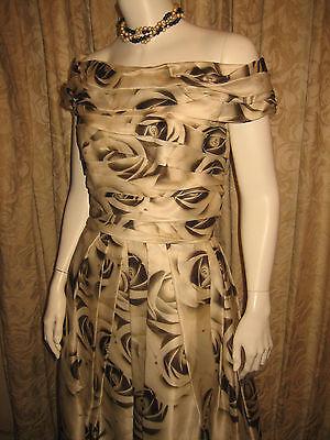 NAEEM KHAN Silk Organza ROSE PRINT Classic 50s Style Cocktail Dress Retail 3K 6 ()