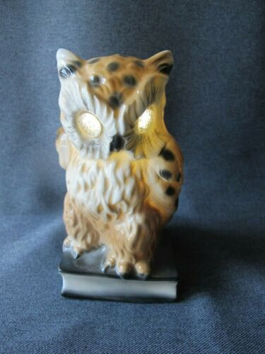 Vintage Owl Shaped German Porcelain Perfume Diffuser Lamp Night Light