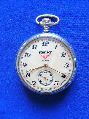 Vintage Soviet CCCP USSR pocket watch MOLNIJA SERKISOF demiryolu train 284106