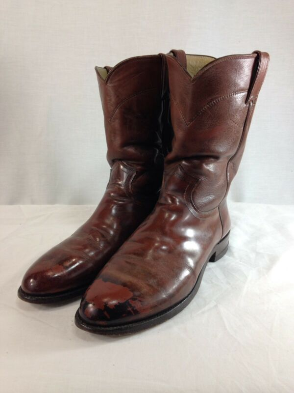 VTG, Justin, Western, Cowboy, Boots, Mens, 9, D, Brown, Leather, Distressed, USA,