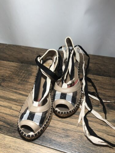 BURBERRY High Wedge Heels Sandals Lace Leather Platform Shoes Size EU 41 95 S3