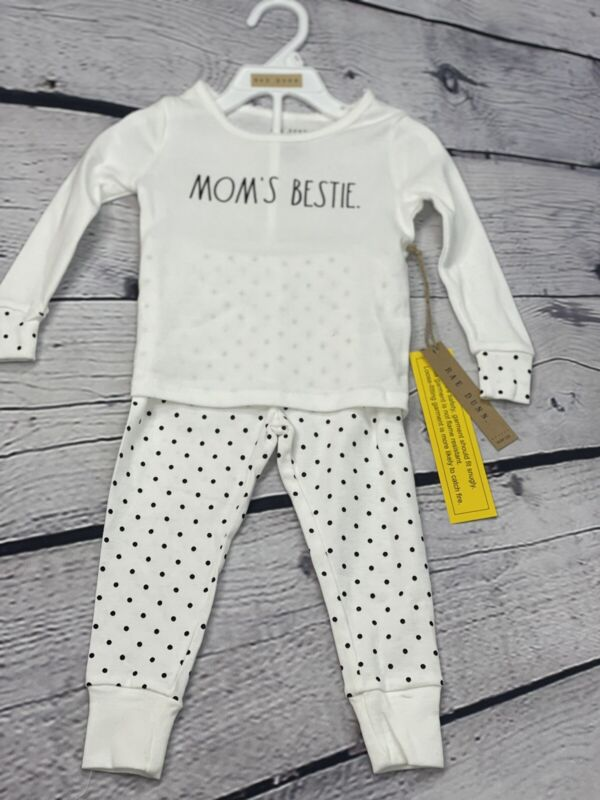 RAE DUNN Toddler girl snug fit PJ Pajama set MOM'S BESTIE size 2T NEW Polka Dot