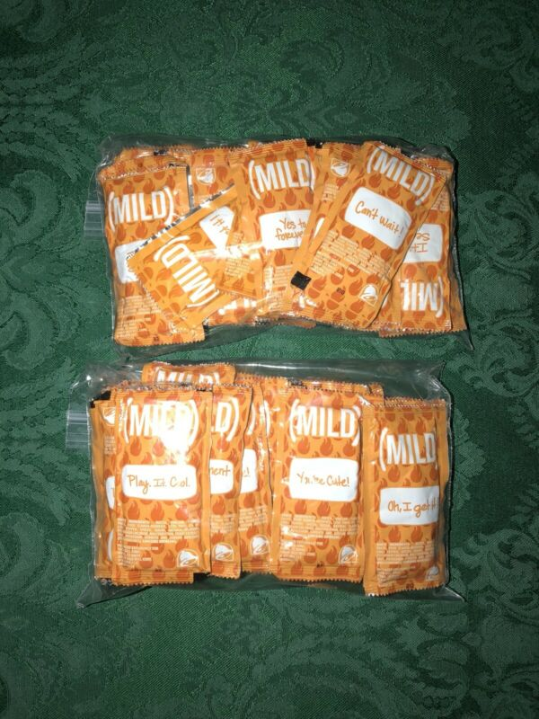 50 Taco Bell MILD Sauce Packets Various Sayings Lot