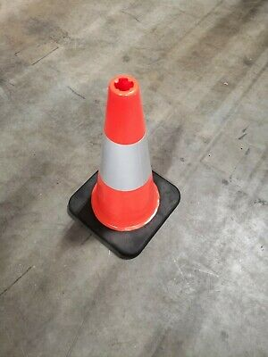 4 Pack Of 18 Inch Orange Safety Traffic Cone Black Base W Reflective Tape