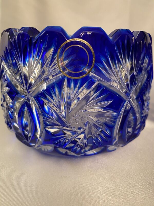 Vintage Cobalt Blue Cut To Clear Lead Crystal Fruit Bowl Made in Poland