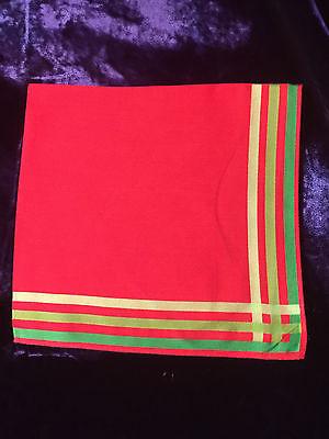 2 Vintage Handkerchief Hanky Red & Green Linen Christmas Colors