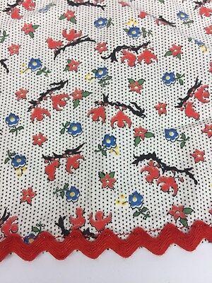 Vtg Apron Polka Dot Song Bird Floral Black White Red Blue Yellow 1/2 Tie 2Pocket