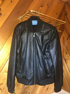 Versace Men's Leather Jacket-used-men's medium (read description)