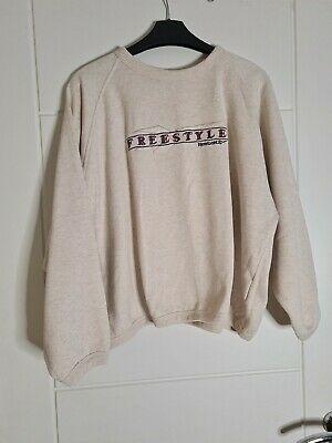Reebok Vintage Ladies Cream Freestyle Jumper Sweater Sports Pullover Size 12