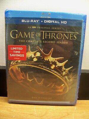 NEW GENUINE HBO BLU RAY+ DIGITAL GAME OF THRONES SECOND SEASON 2 FREE 1STCLS S&H