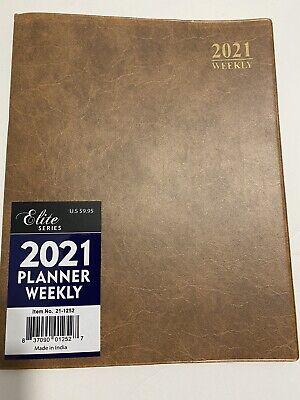 2021  Brown 8x10 Weekly Planner Calendar Organizer Elite Appointment Book.