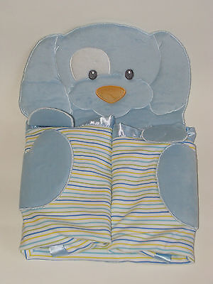 Gund Baby Blue Spunky Puppy Dog Satin Striped Baby Boy Blanket 58974