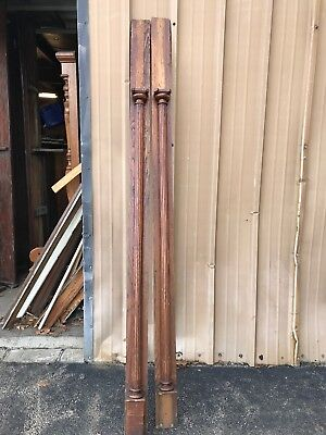 """Used, Cm Match Pair Antique Oak Fluted Columns 76.25 X 4"""" Base for sale  Hubbard"""