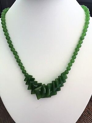 Beautiful Vintage Handcrafted Genuine Natural Green Jade Necklace