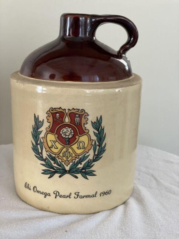 Vintage Alpha Chi Omega Stoneware Whiskey Jug 1960 Pearl Formal