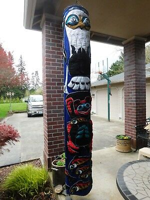 NATIVE AMERICAN TEXTILE ART TOTEM POLE EAGLE BEAR SALMON WINDSOCK WARM SPRINGS