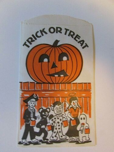 1 HTF vintage Halloween Trick or Treat Candy Paper Bag Kids Pirate Ghost JOL