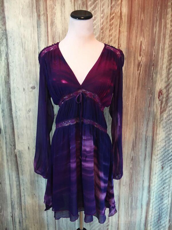 Michelle Jonas Goddess Dress Silk Purple Tie Dye Boho Celeb Fave $308 P NWOT!
