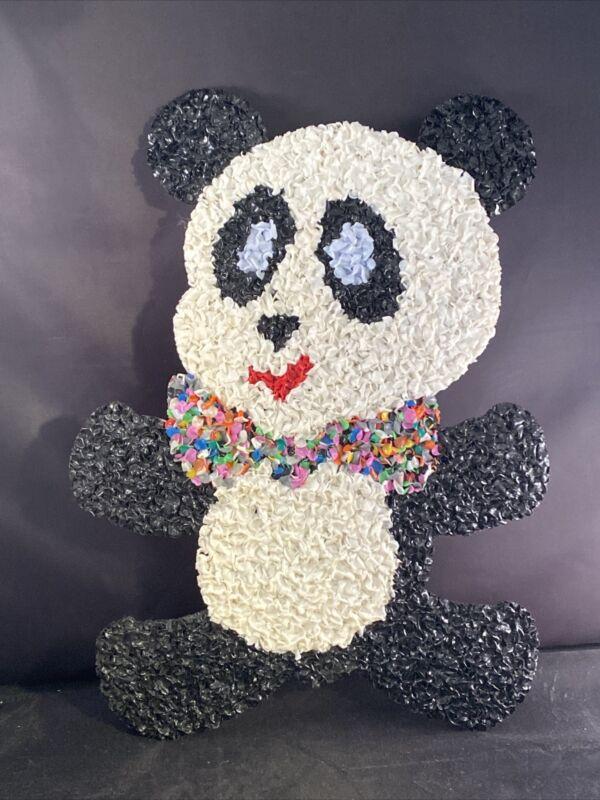 "Vintage Plastic Popcorn PRIDE Panda Bear Rainbow Bow Tie 15"" 1970"