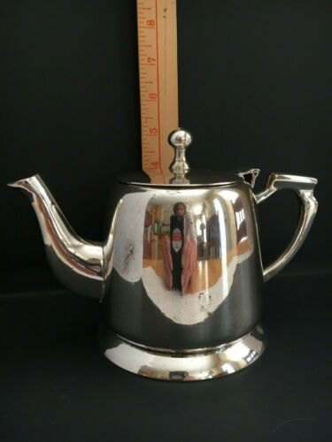 VTG Silver Tea Pot ~ Hinged Lid ~ Made in India ~ Heavy Approx. 2 lbs!!!