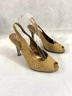ANNE KLEIN Quent Size 8.5 M Gold Snakeskin Emboss High-Heel Peep-Toe Slingbacks Anne Klein Peep Toe