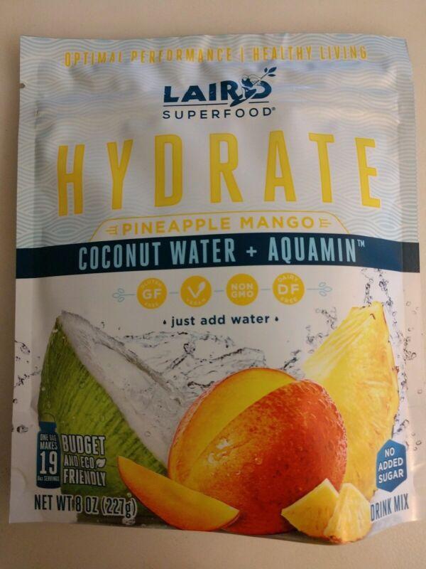 Vegan Laird Superfood 8 oz HYDRATE PINEAPPLE MANGO Coconut H2O Paleo DFGF NonGMO