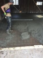 Basement and garage concrete finishing crew